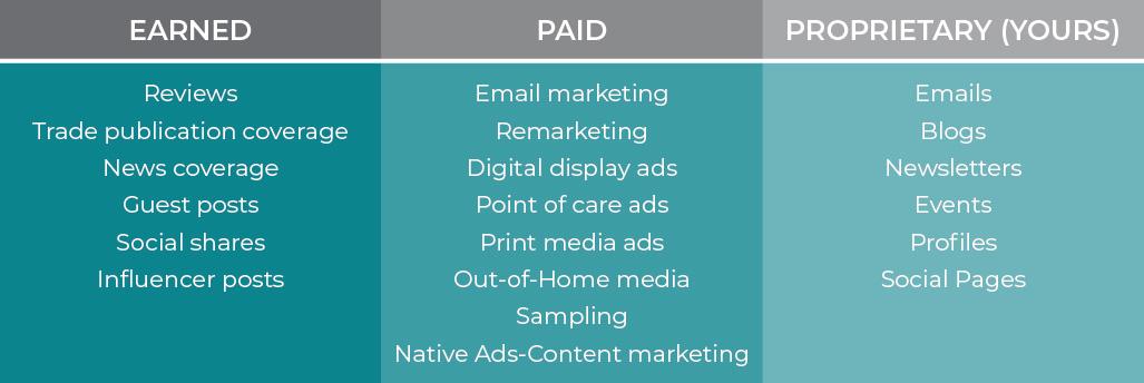 earned paid proprietary media marketing examples